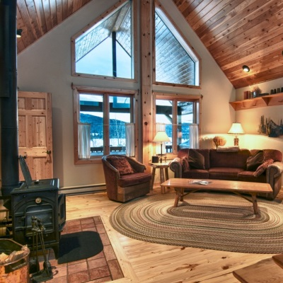 Interior living room of a Vista Verde luxury guest ranch cabin.