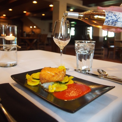Formal meal and wine pairing created by the gourmet chefs at Vista Verde Guest Ranch, near Steamboat Springs Colorado.