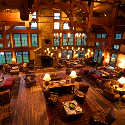 Interior of the main lodge at Vista Verde Guest Ranch located north of Steamboat Springs Colorado.