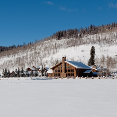 Winter view of the main lodge at Vista Verde Guest Ranch, located north of Steamboat Springs Colorado.