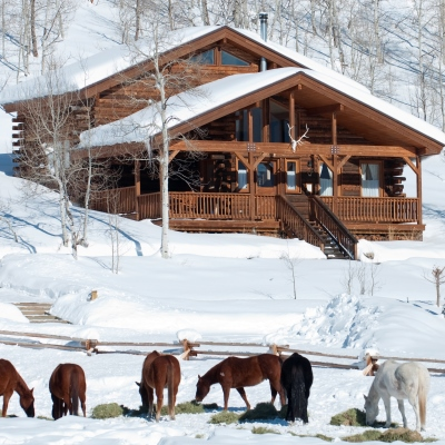 Cabin exterior with pasture view at Vista Verde Guest Ranch located north of Steamboat Springs Colorado