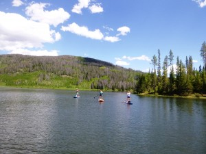 alpine lake paddle boarding in Colorado