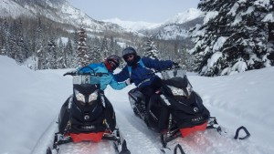 snowmobiling on Colorado vacation
