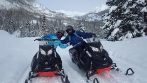 snowmobiling on Colorado vacation