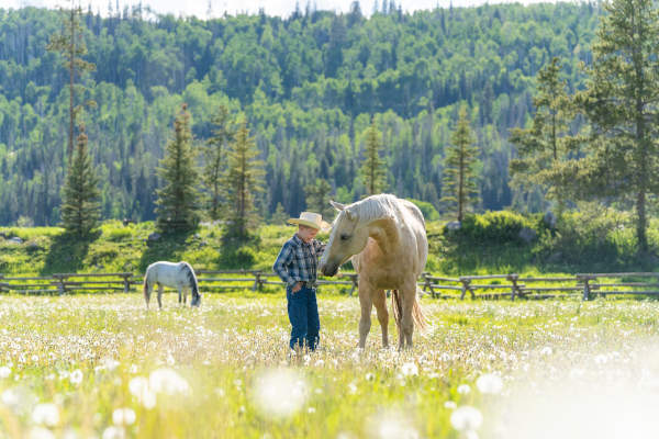 a boy and his horse on a dude ranch vacation