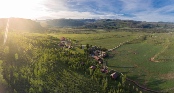 view of the cabins at a luxury dude ranch in Colorado