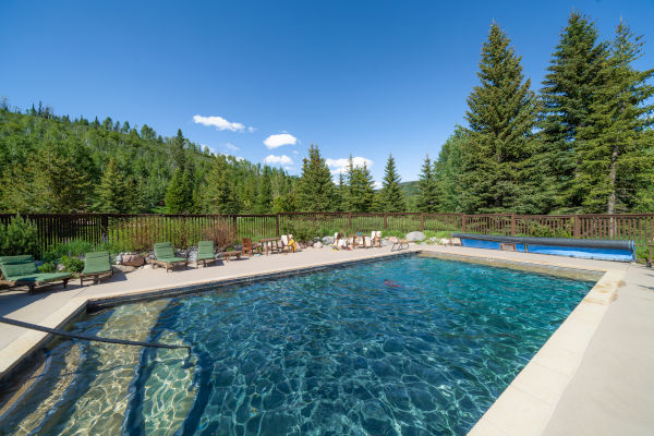 swimming pool at luxury guest ranch in Colorado