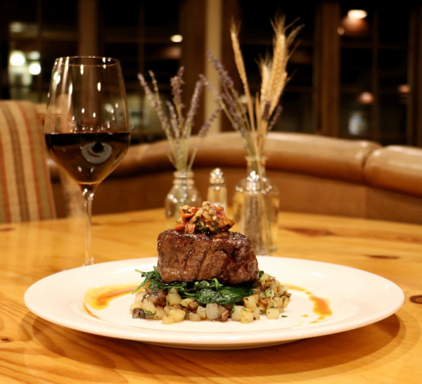 delicious beef dinner at an all-inclusive guest ranch in Colorado
